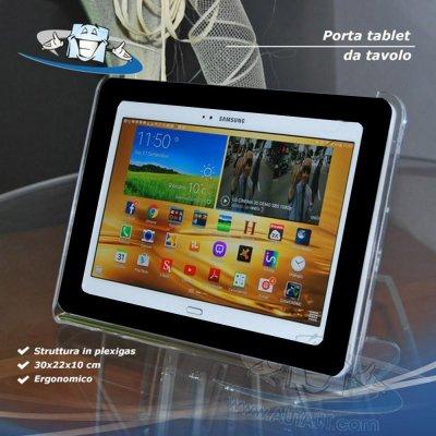 Porta tablet, supporto per tablet con apertura superiore e cornice in plexiglas nera