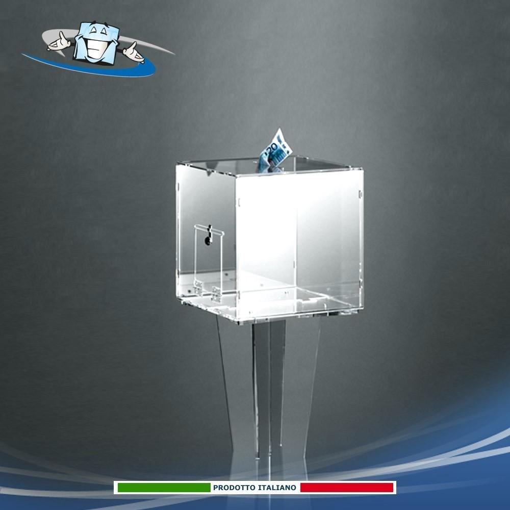 Teca - urna in plexiglass per offerte e raccolta schede con serratura di sicurezza
