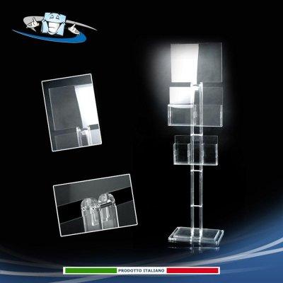 Piantana in plexiglass porta informazioni con accessori abbinabili