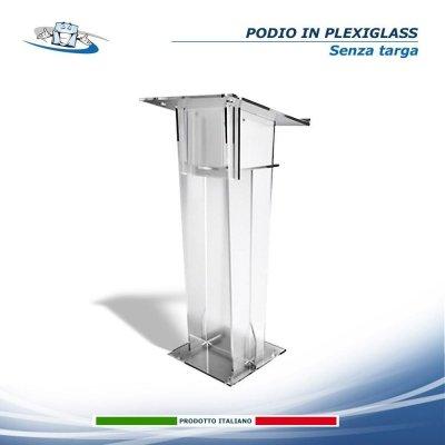 Podio oratore spillo in Plexiglass trasparente per conferenze, meeting, congressi personalizzabile