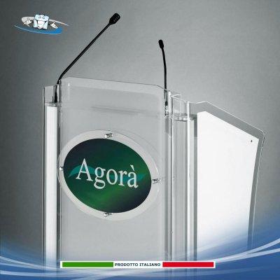 Podio oratore in plexiglass satinato L62xP50xH125 cm disponibile anche con targa personalizzabile per conferenze, congressi
