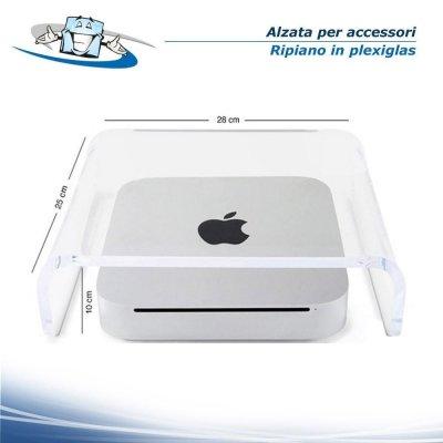 Alzata, Divisorio in Plexiglass Trasparente per accessori o espositore Notebook e minimac